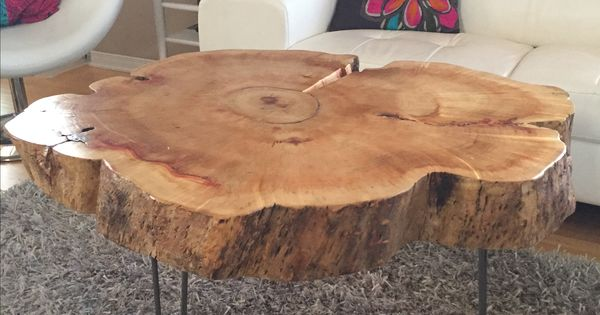 Tree Trunk Table With Metal Legs Wood Coffee Table With