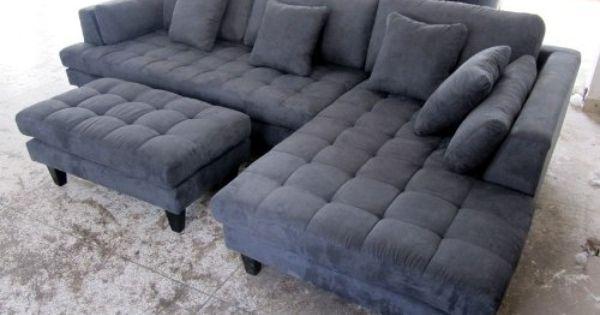 Amazon Com 3pc New Modern Dark Grey Microfiber Sectional Sofa Chaise Ottoman Set S168rdg Grey Sectional Sofa Sofa Bed Design Sectional Sofa With Chaise