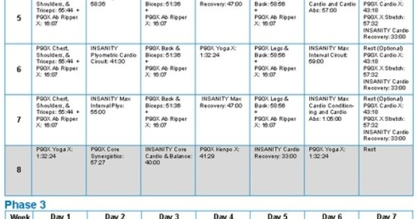Insanity Schedule Healthy Living Pinterest P90x Workout