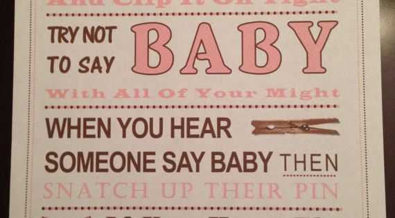 baby shower game don 39 t say baby sign pink clothespin poems