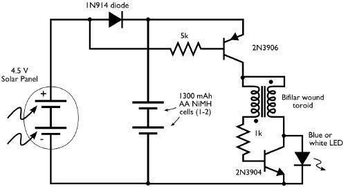 solar powered night light circuit