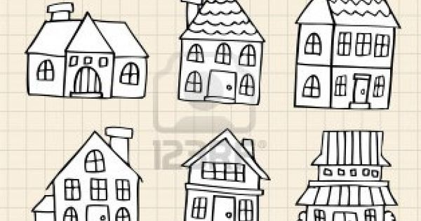 hand draw cute house Stock Photo | - illustration ...