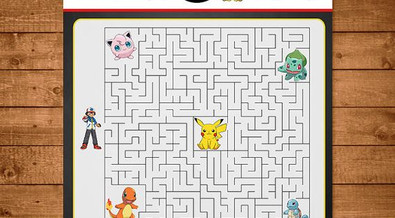 Pokemon Maze Activity Red amp White