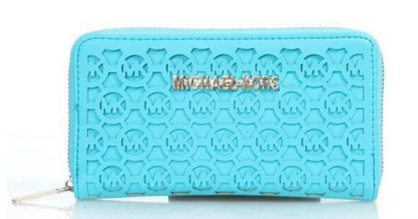 Michael Kors Logo Perforated Large Blue Wallets Are High Quality And Cheap