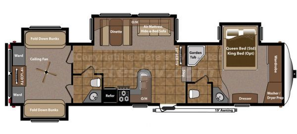 Fifth Wheel 2 Bedroom Campers With Images Travel Trailer Floor