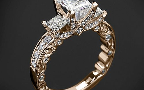 The only gold ring I'd wear...beautiful 3 Stone Engagement Ring is from