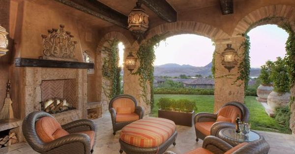 Tuscany Porches And Outdoor Fireplaces On Pinterest