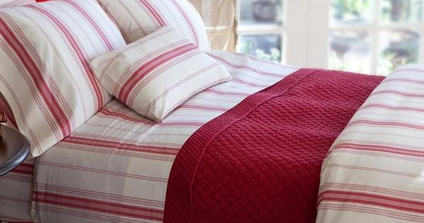 Raspberry Stripe Bedding Intriguing Interiors