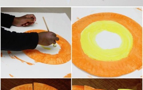 Paper Plate Candy Corn Banner and other easy kid friendly Halloween crafts.