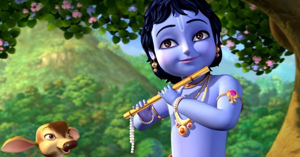 Animated Little Krishna Cartoon Wallpaper HD Picture