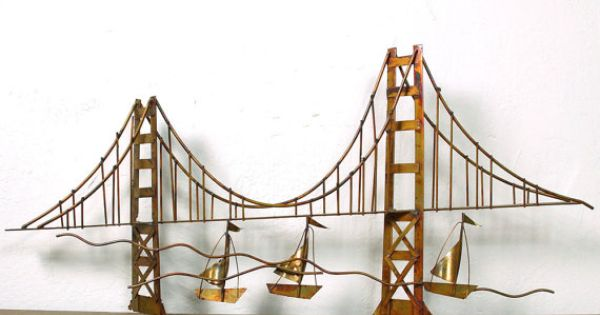 60s golden gate bridge metal sculpture mid century by spunkvtg vintage home dec. Black Bedroom Furniture Sets. Home Design Ideas