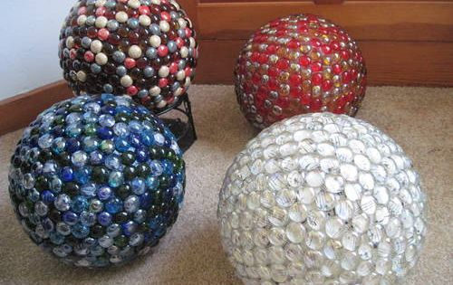 DIY Gazing Balls made from bowling balls
