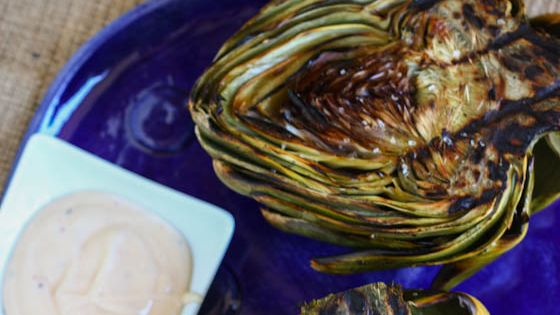 grilled artichokes with spicy lemon aioli food