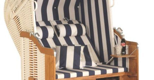 Eurita Strandkorb Knight Blue & White Luxury Garden/beach Lounge Chair