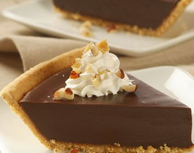 Chocolate Satin Pie - Heated evaporated milk and egg yolks make a