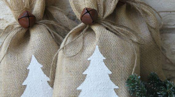 Burlap Christmas gift bags