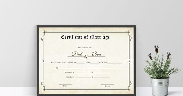 Classic Marriage Certificate Template Wedding Certificate - wedding certificate template