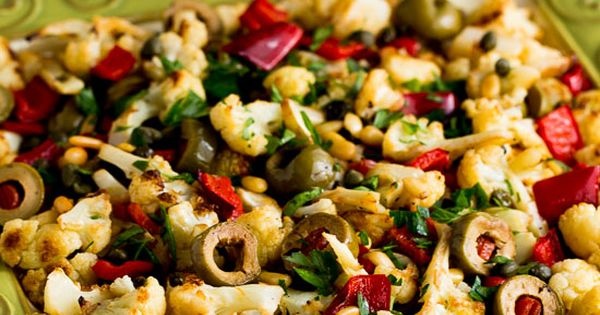 Cauliflower with Red Bell Pepper, Green Olives, and Pine Nuts | Red ...