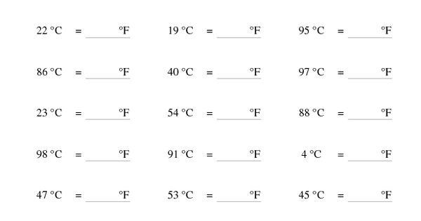 measurement worksheet converting from celsius to fahrenheit a 5th grade work future. Black Bedroom Furniture Sets. Home Design Ideas