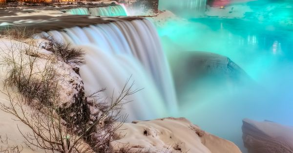 Frozen Niagara Falls at Night. Photography By : Peicong Liu..... been there
