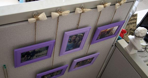 Cute Idea To Hang Picture Frames In Cubicle Office