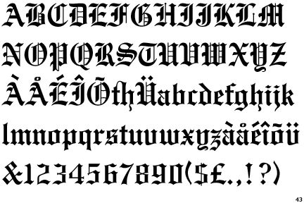 Blackletter alphabet and numbers medieval illumination