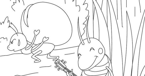 Dibujo Para Colorear Cuento La Cigarra Y La Hormiga