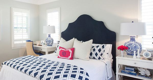 Best Blue And White Bedroom With Navy Headboard Bed Is Dressed 640 x 480