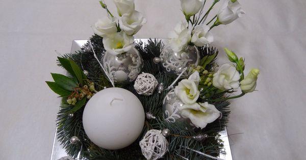 Centre de table blanc et argent fleurs pinterest for Centre de table argent