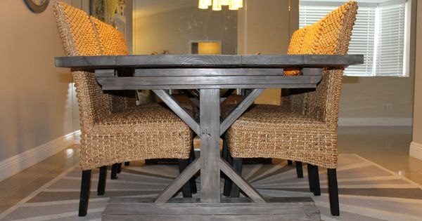 Farmhouse table and chairs for 8 weathered gray fancy x for Fancy farmhouse