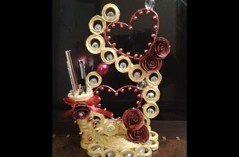 Best out of waste paper heart showpiece cum pen holder i for Showpiece from waste material