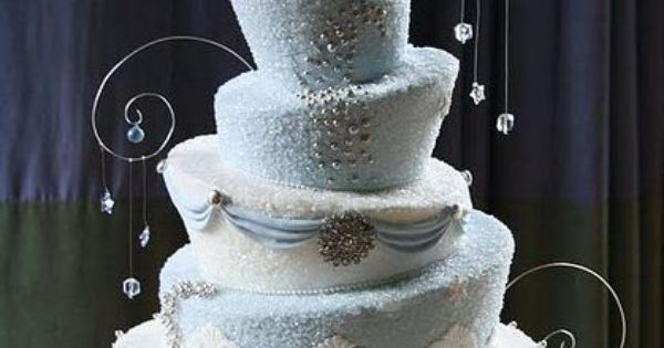 Topsy turvy 5 tiered cake in blue and white by Elegant Treats