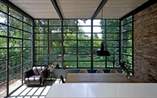 blickrichtung direkt in den garten anbau esszimmer k che an siedlerhaus 30er jahre haus. Black Bedroom Furniture Sets. Home Design Ideas