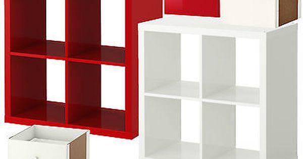 Ikea Kallax Regal Hochglanz Rot Weiss 4 Fach Tur Schublade Ehem Expedit Kallax Regal Ikea Kallax Regal Regal