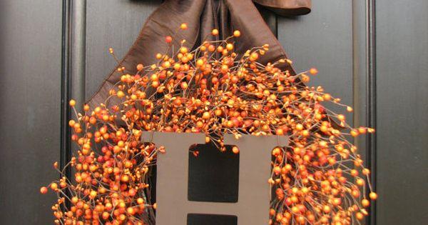 Thanksgiving Decor, Thanksgiving Dinner, Jack O Lantern, Pumpkin Orange Berry Wreath, Pumpkin