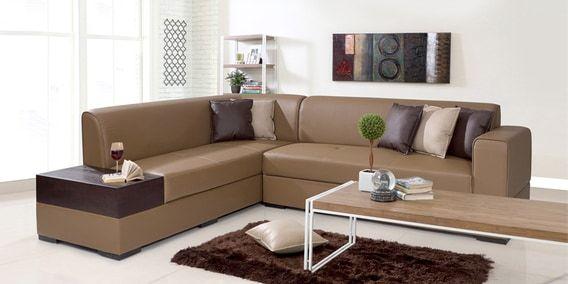 Alden Rhs Sectional Sofa In Tan Brown Leatherette Sofa Set Corner Sofa Set Simple Sofa