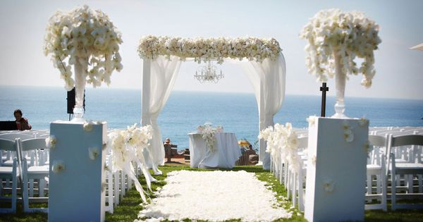 All White Indoor Wedding Ceremony Site: Gorgeous All White Wedding Trellis/Arbor And Ceremony