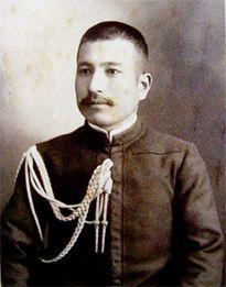 日露戦争連合艦隊幹部。(右から秋山真之、加藤友三郎、上村彦之丞 ...