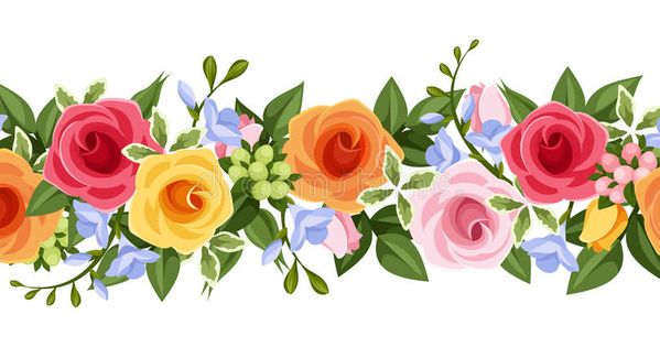 Horizontal Seamless Background With Colorful Roses And Freesia Flowers Vector I Ad Colorful Flower Illustration Flower Illustration Pattern Flower Art