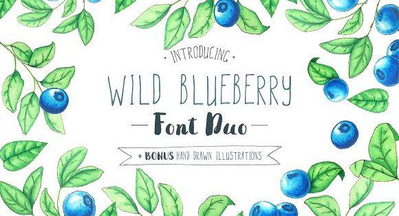 Wild Blueberry Font Duo by LarysaZabrotskaya