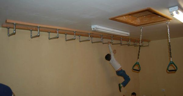 Monkey bars on ceiling indoor play space pinterest