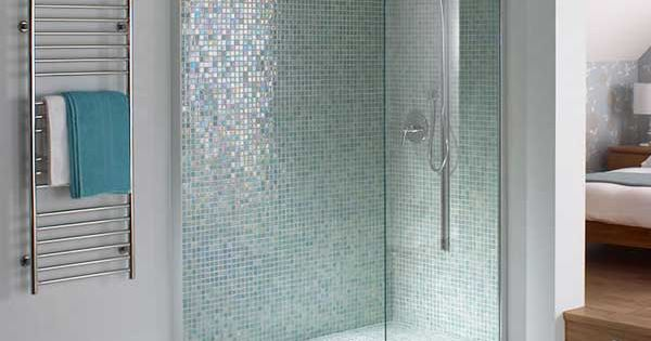 Blue mosaic tile shower accent wall google search