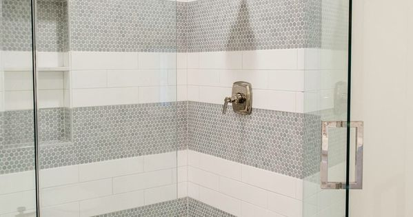 Blue Penny Round And White 4x12 Subway Tile Stripes Margaux Fixtures From Kohler Design By