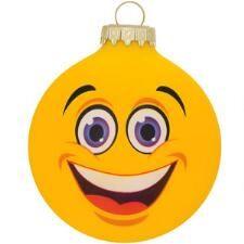 Omg Emoji Face Glass Ornament Emoji Happy Face Old World Christmas Ornaments Emoji