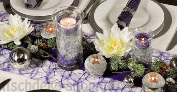 tischdeko weihnachten lila mit seerosen tischdeko. Black Bedroom Furniture Sets. Home Design Ideas