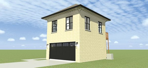 Eplans colonial garage plan two bay garage with two for 4 bay garage with apartment plans