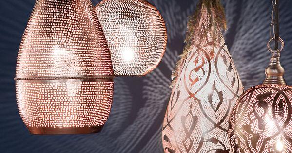 Copper Pin Dot Teardrop Pendant Light