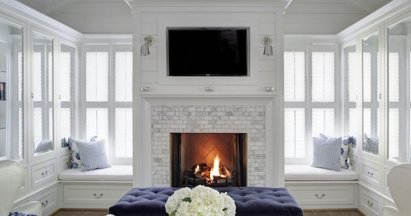 Gray Marble Brick Pattern Tile Surround Tv Above Fireplaces Tile