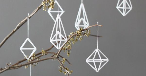 Make these modern ornaments with small coffee stirrers? holiday christmas holiday decor