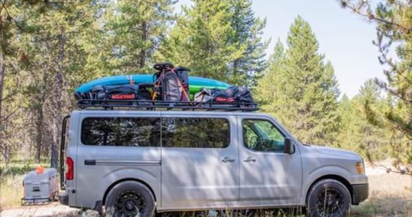 When You Are Going Camping With 8 Kids Where Does All The Stuff Go On An Aluminess Rack And Advanced Four Wheel Drive Ladder To A Nissan 4x4 Van Nissan Vans